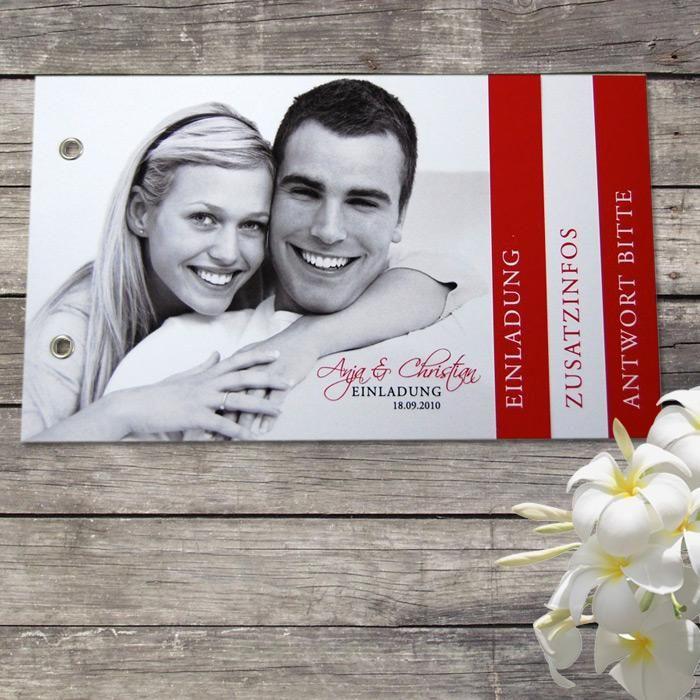 Booklet Einladung   Rot Weiss  Grundversion Mit 4 Seiten