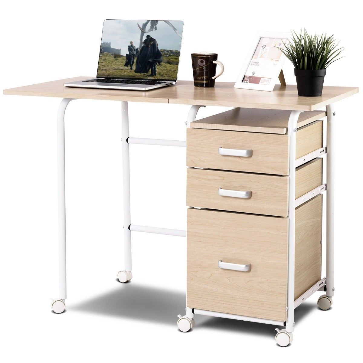 Folding Computer Laptop Desk Wheeled Home Office Furniture Home