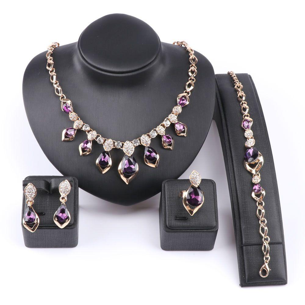 African jewelry set gold color purple zircon austrian crystal women