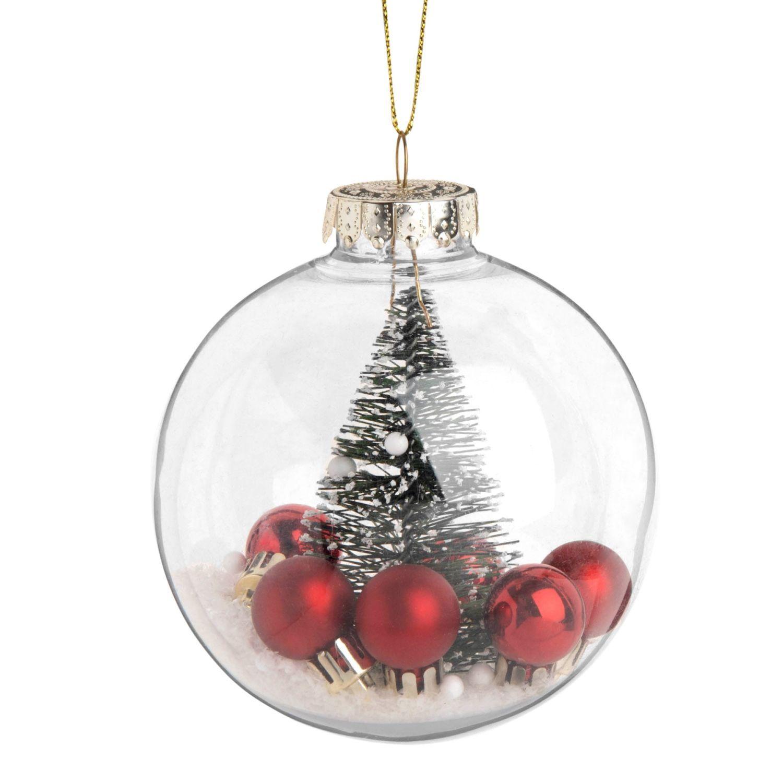 Pallina Di Natale Trasparente Con Decorazione Abete E Sfere Rosse Su