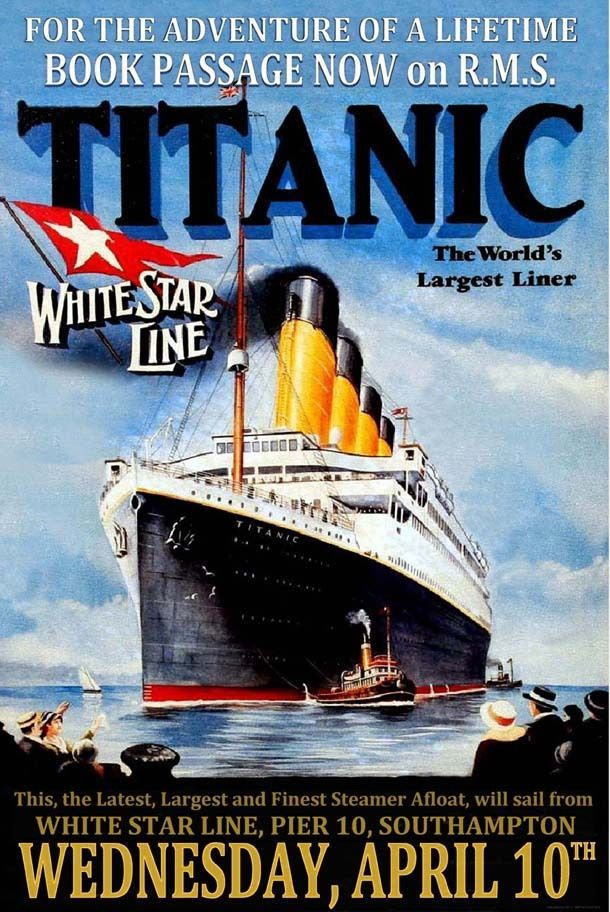 Details about White Star Line RMS TITANIC Poster Maiden ...