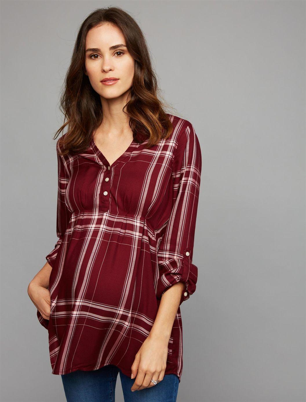977ab93b4c8 Luxe Essentials Denim Plaid Convertible Maternity Shirt, Plaid Burgundy