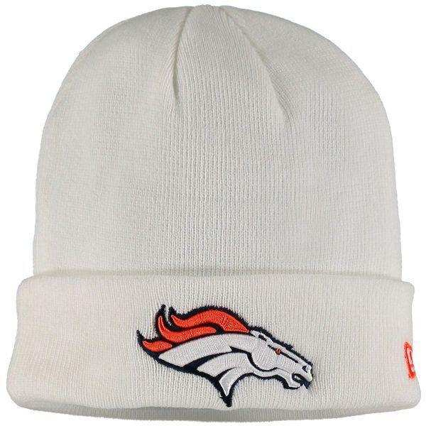 Denver Broncos New Era Solid Cuffed Knit Hat - White