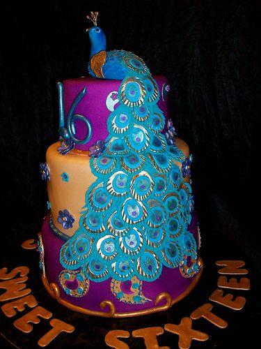 Peacock Sweet 16 Cake