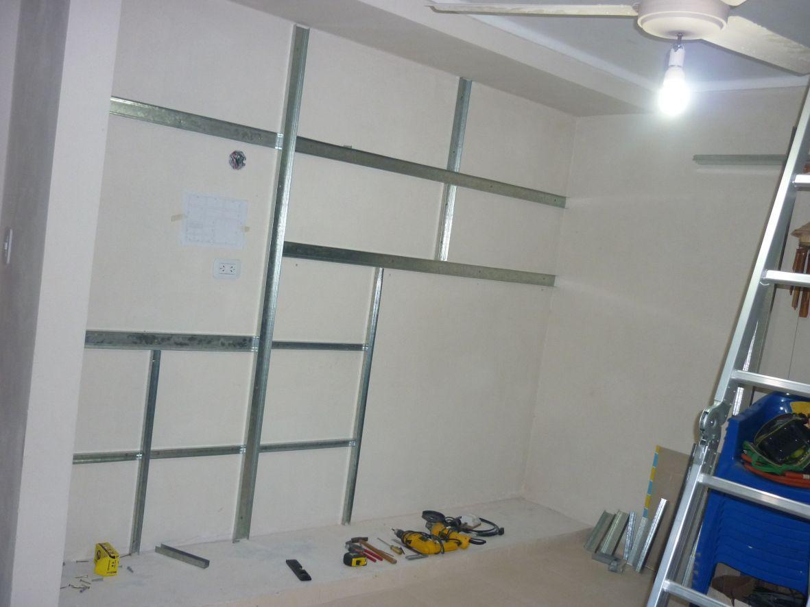How to hang drywall on walls - Construcci N De Escritorio Para Pc Y Placard En Durlock