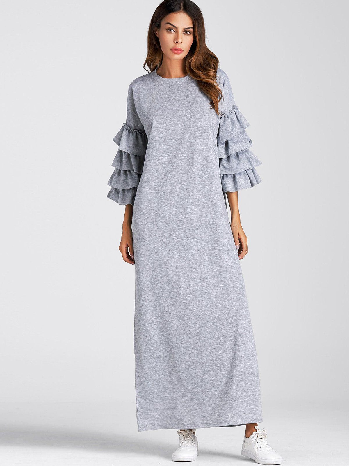 Dresses by borntowear tiered frill sleeve full length dress
