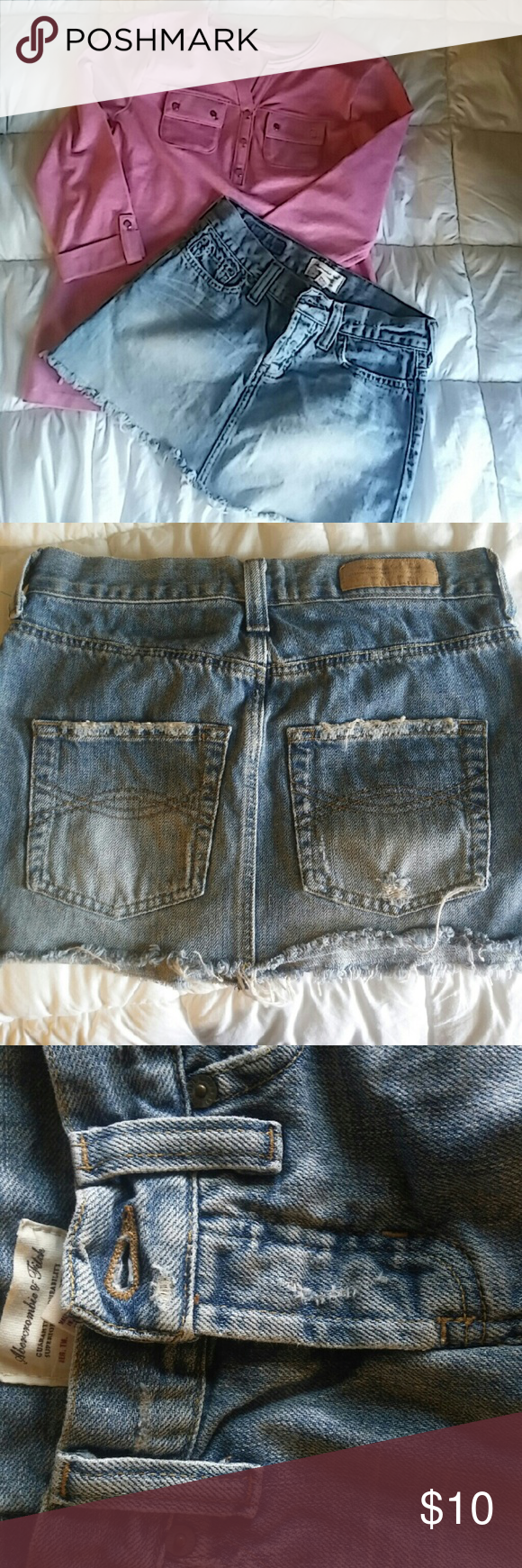 A&F Distressed denim mini skirt I absolutely love this skirt, but I can barely get it past my hips :( it has 3 buttons but the bottom 2 are hidden. Abercrombie & Fitch Skirts Mini