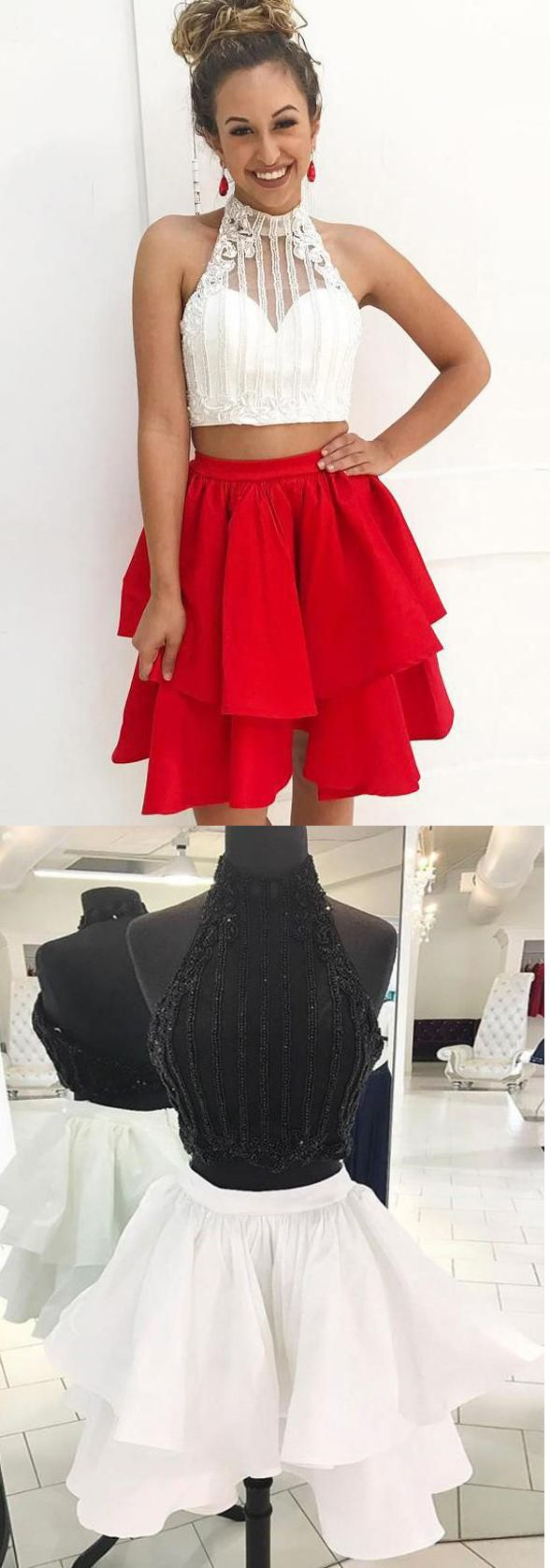 Sexy two pieces homecoming dresses short white red beaded open back