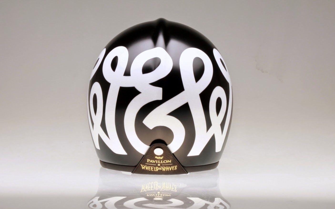 Ruby pavillon wheels waves via moto mucci painted helmets
