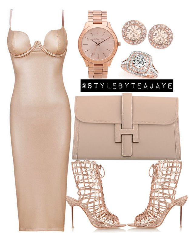 """""""Untitled #1385"""" by stylebyteajaye ❤ liked on Polyvore featuring Hermès, Sophia Webster, Allurez, Michael Kors and Givenchy"""