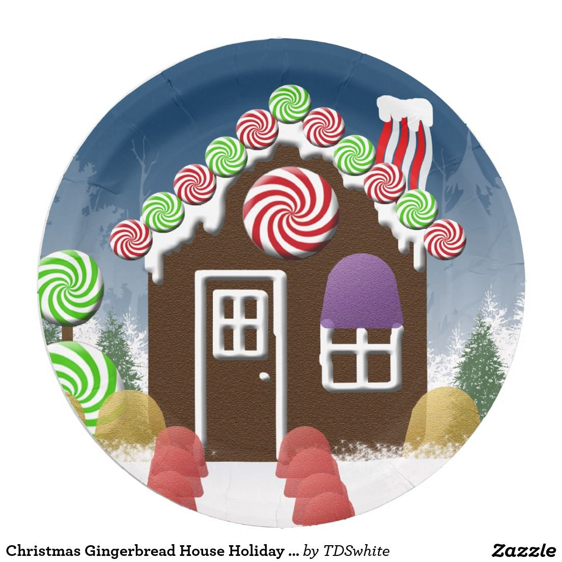 Christmas Gingerbread House Holiday Candy Cottage Paper Plate  sc 1 st  Pinterest & Christmas Gingerbread House Holiday Candy Cottage Paper Plate ...