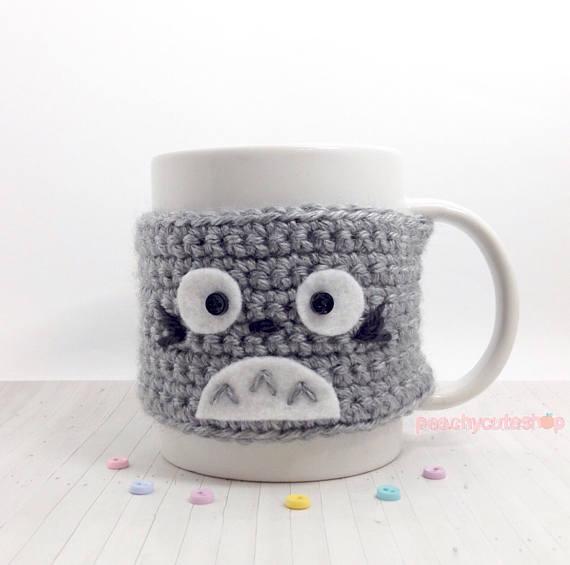 Totoro Cup Cozy - Cat Coffee Cozy - Crochet Amigurumi Cat - Grey ...