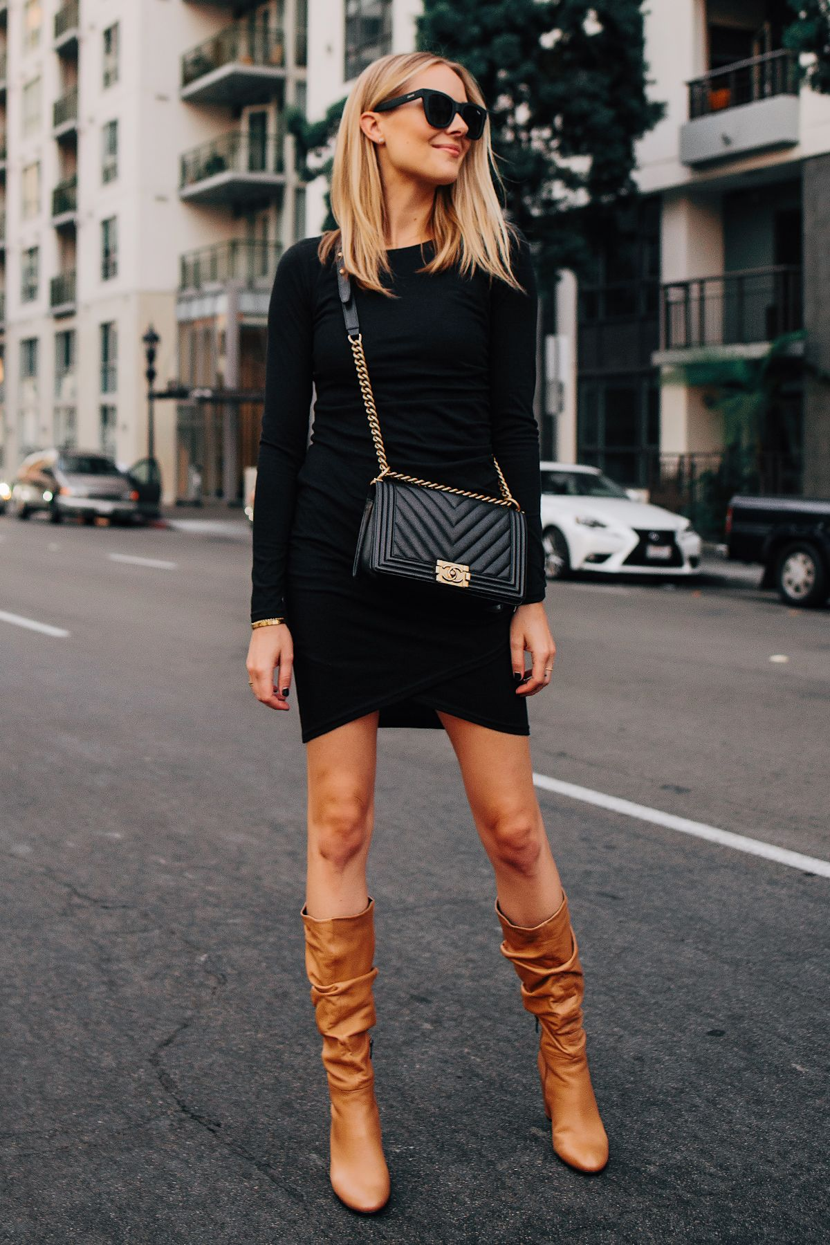 9bf7c2752510 Blonde Woman Wearing Black Long Sleeve Bodycon Dress Ecco Tan Leather  Heeled Boots Chanel Black Boy Bag Fashion Jackson San Diego Fashion Blogger  Street ...