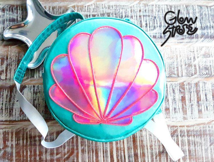 Holographic Custom Logo Bag Mermaid El Wire Round  Backpack Clam Shell Rave Festival Bag Ariel Little Mermaid Backpack