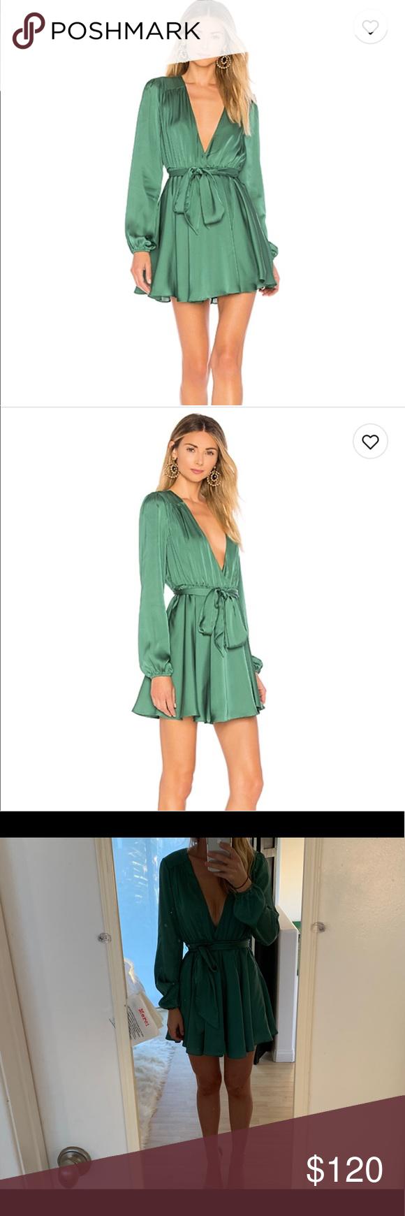 Lovers Friends Ivy Dress Green Silk Dresses Dresses Lovers And Friends Dress