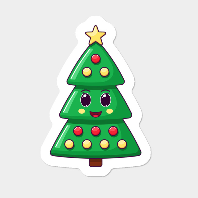 Cartoon Kawaii Christmas Tree With Cheerful Face Stickers By Dmitrymayer Design By Humans In 2020 Kawaii Christmas Face Stickers Kawaii