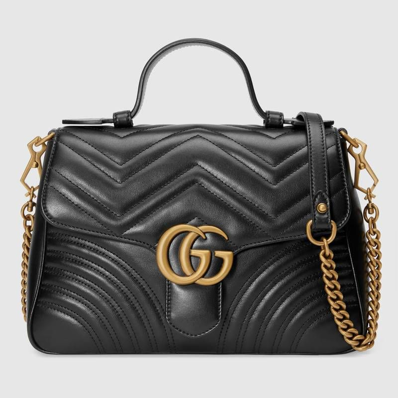 83580b65b9e2 GG Marmont small top handle bag in Black matelassé chevron leather with a  heart