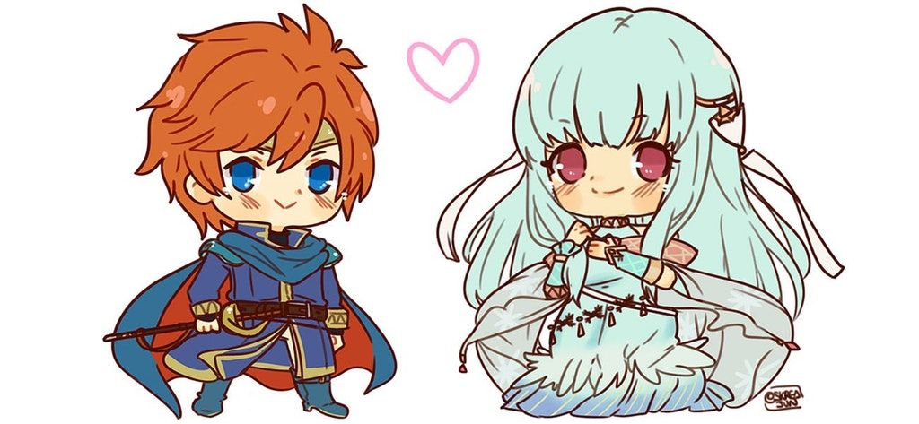 I commissioned Ninian and Eliwood chibis! Art by Skredjun