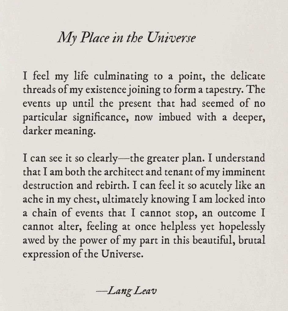 My Place In The Universe By Lang Leav Wise Word Words Dawn Awake Poem Explanation