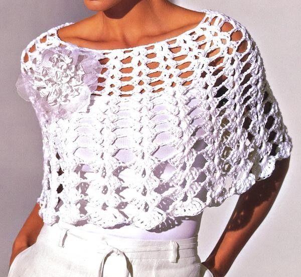 Patrones para hacer un poncho muy fácil y sencillo de crochet. Puede ...
