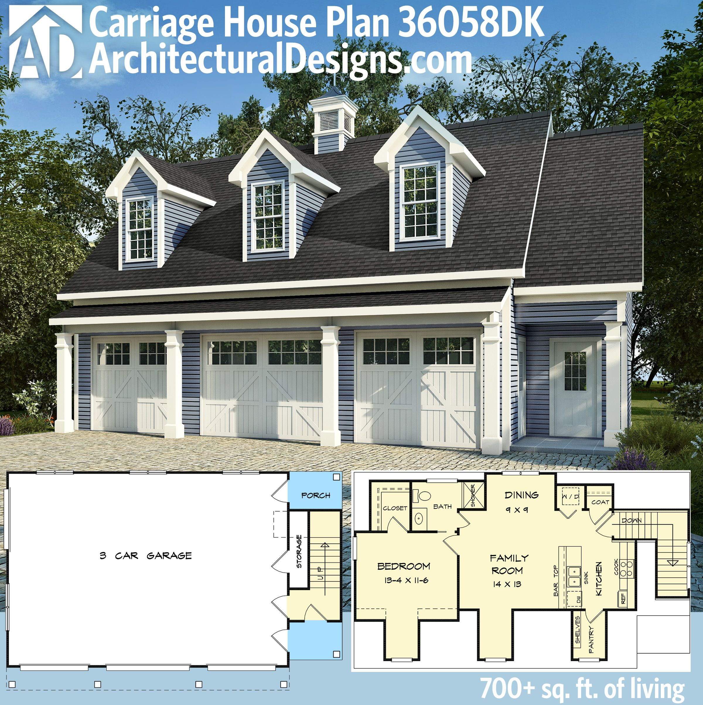 Plan 36058dk 3 car carriage house plan with 3 dormers for Plans for 3 car garage with apartment above