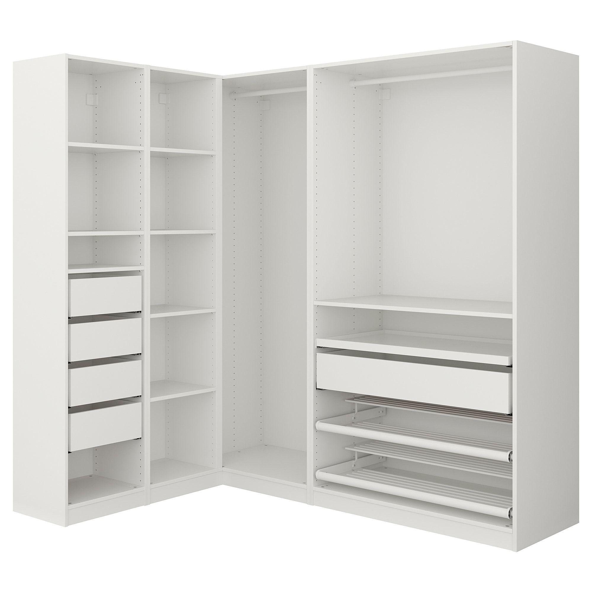 "PAX Corner wardrobe white 63 1/8/73 7/8x79 1/4 "" (160"