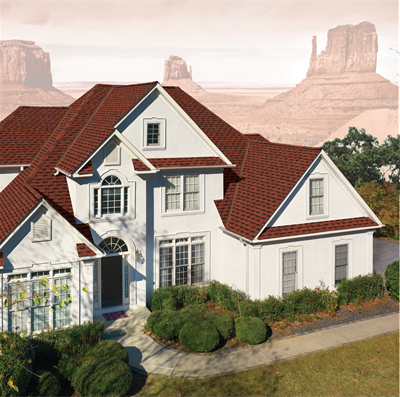 Roofing. Shingles. GAF Timberline Ultra HD Patriot Red House