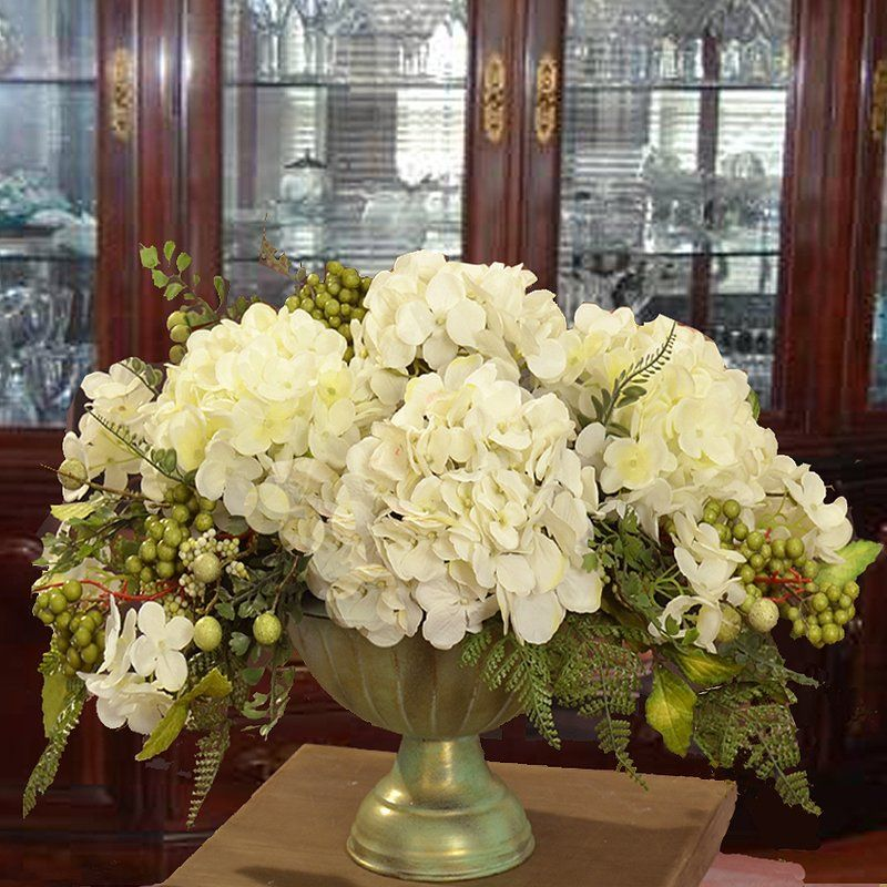 Elegantly Styled Silk Flower Centerpiece Arranged With White Hydrangeas Accented Hydrangea Flower Arrangements Hydrangea Arrangements Silk Flower Centerpieces