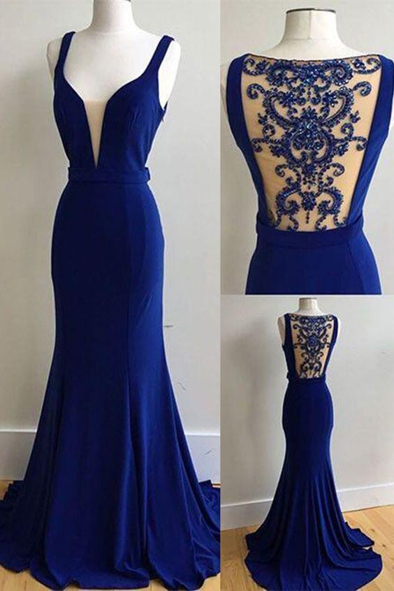 0254d810b4996 Elegant royal blue chiffon long beading prom dress, see through back halter  evening dress