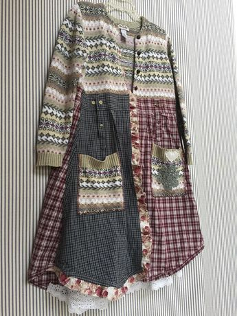 Upcycled Fair Isle Knit Patchwork Cardigan Sweater Duster