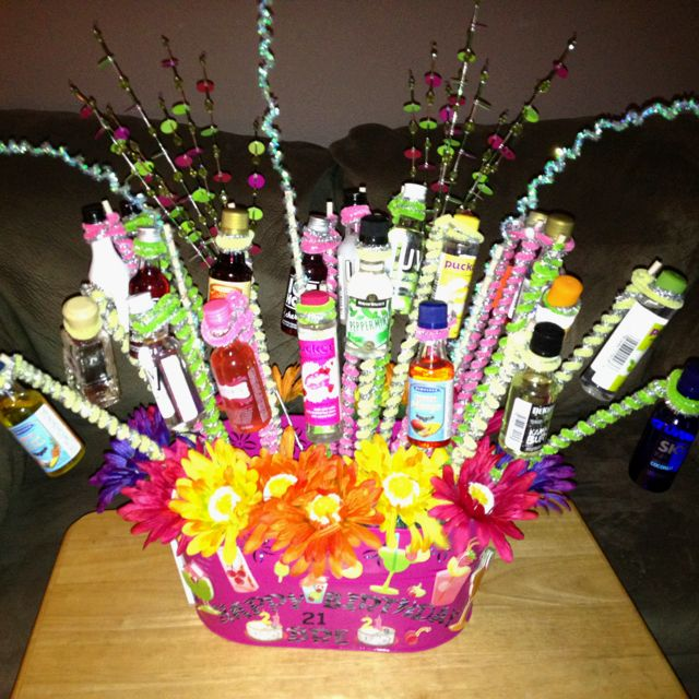 My first attempt at a 21st Birthday Shot Basket for my niece