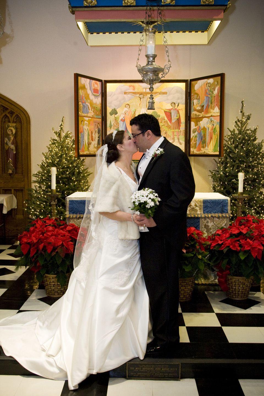 ChristmasWedding kiss in NY ceremony
