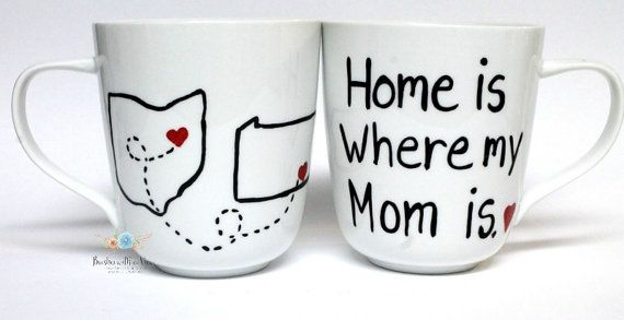 Home is where my Mom is mug mothers day gift by Brusheswithaview