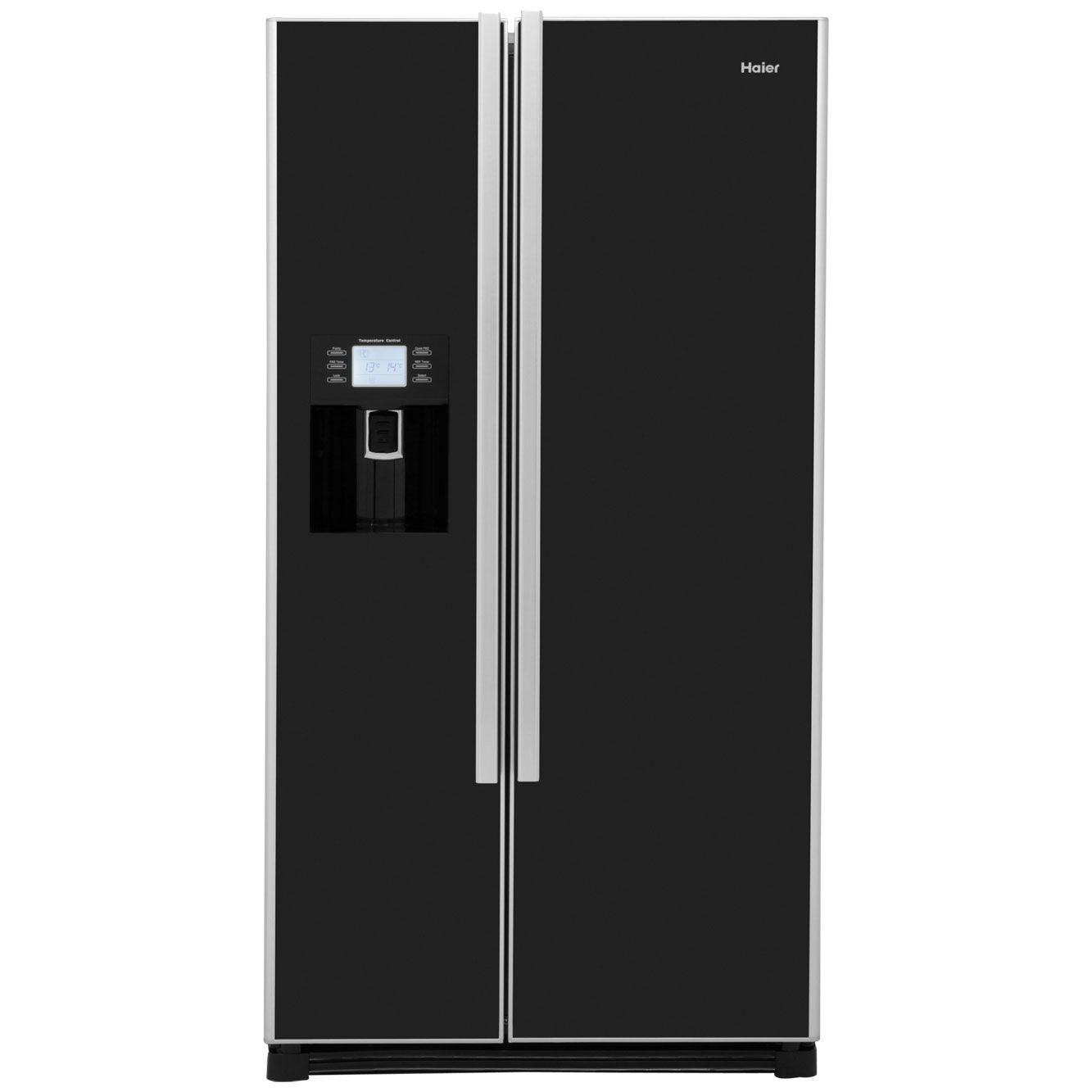 haier hrf 663cjb american fridge freezer black glass. Black Bedroom Furniture Sets. Home Design Ideas
