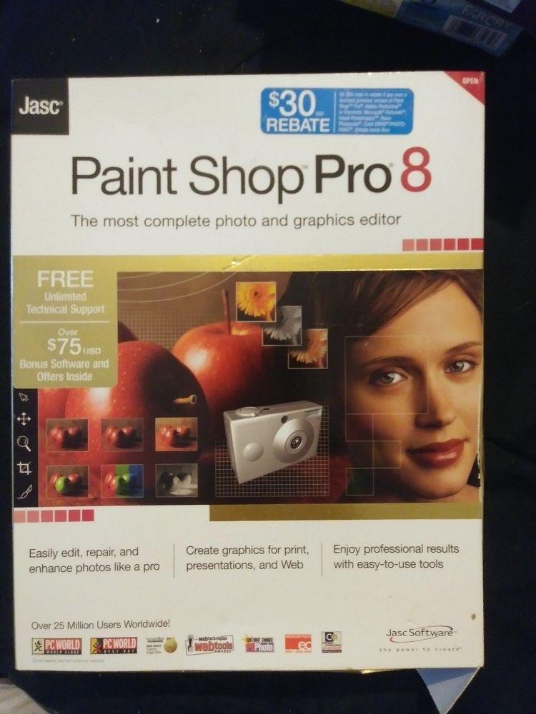 Paint Shop 8 Pro PC CD Edit Professional Digital Photo Picture Image Program Jasc