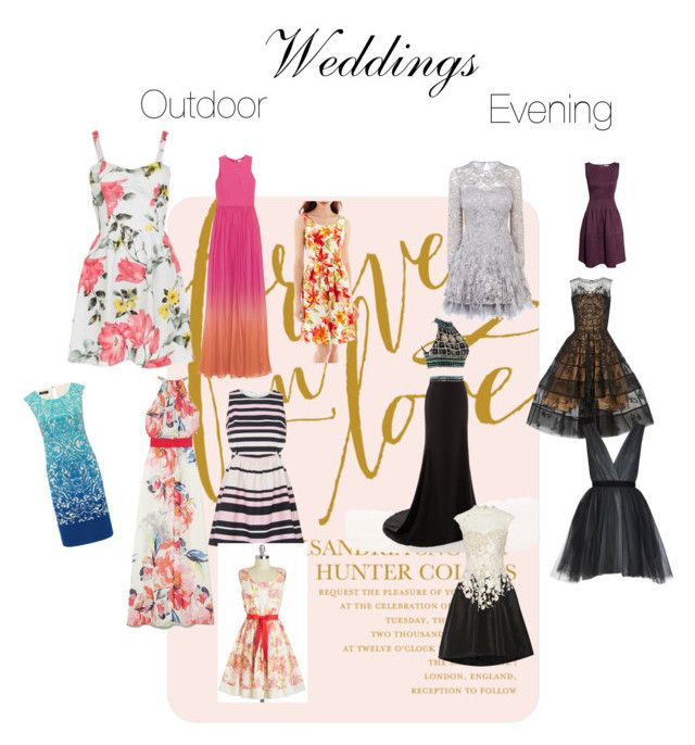 """""""What to Wear Weddings"""" by graciepups ❤ liked on Polyvore featuring Matthew Williamson, Vince Camuto, M&Co, Topshop, Alyx, Coast, Oscar de la Renta and Alice + Olivia"""