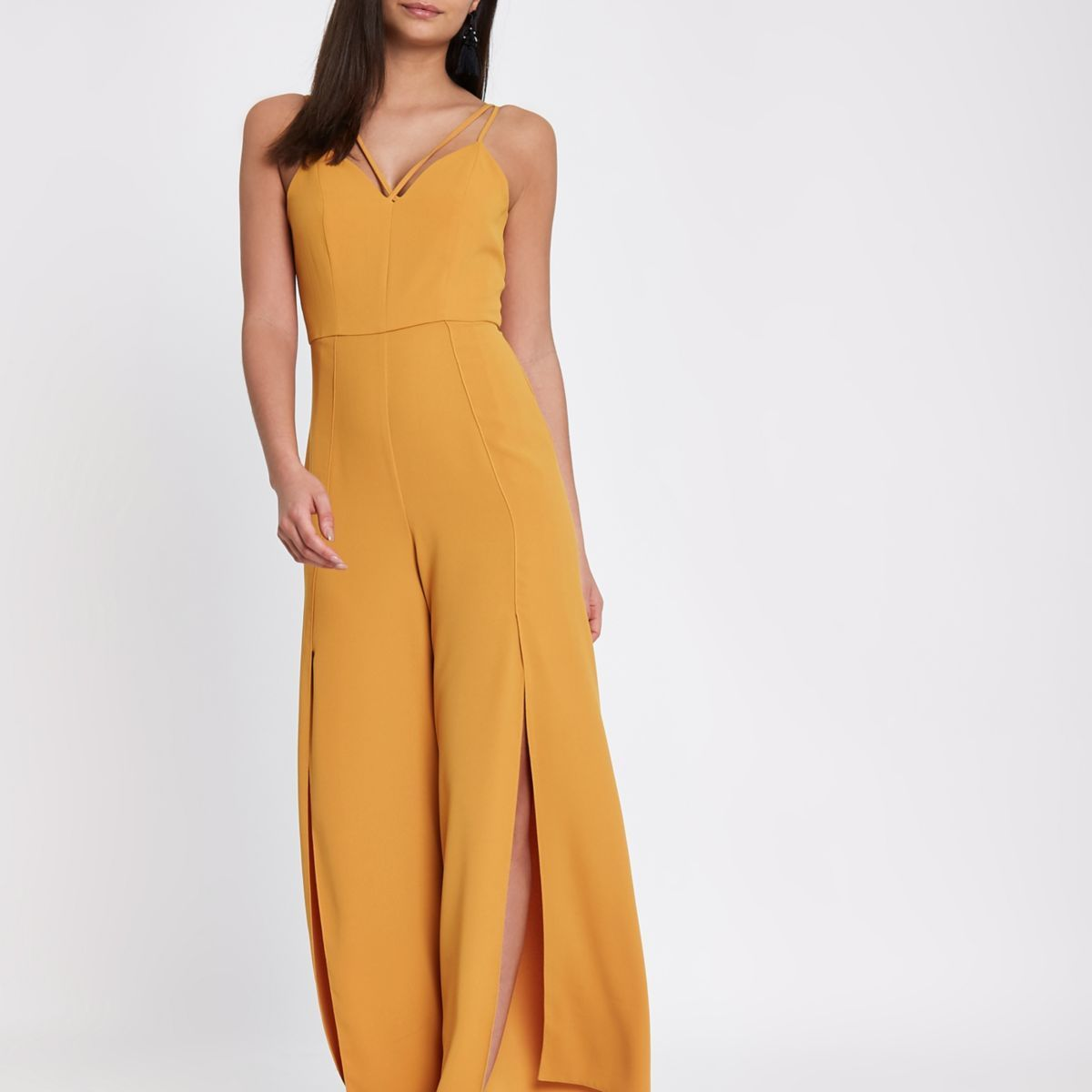 57908c41a224 Mustard yellow wide split leg cami jumpsuit - Jumpsuits - Rompers    Jumpsuits - women