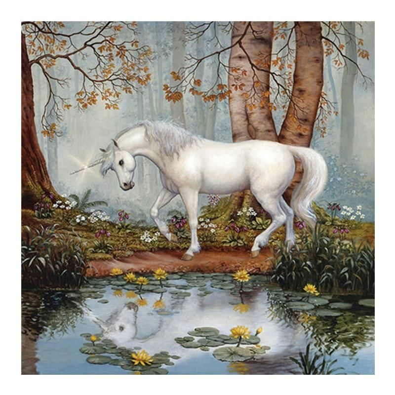 Paint By Numbers Beautiful Unicorn In The Forest Painting