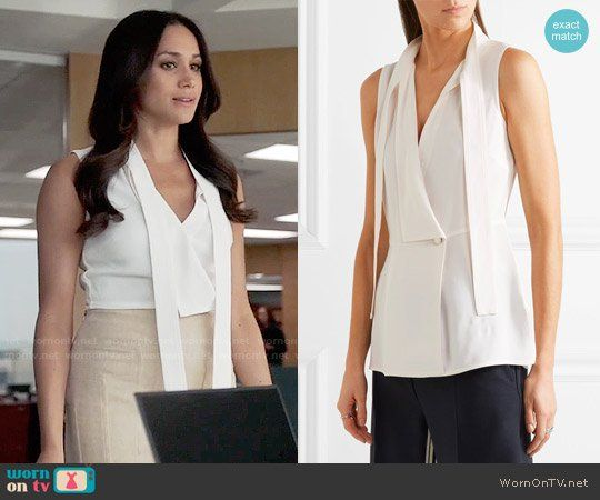9ef149f9fc Rachel s white sleeveless top and beige skirt on Suits. Outfit Details   https
