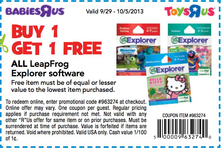 Toys R Us Bogo Free Leapfrog Printable Coupon Printable Coupons Toys R Us Toys R Us Kids
