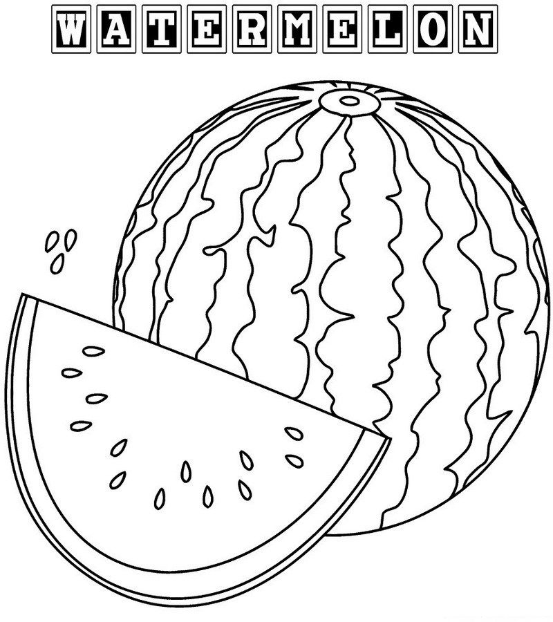 Watermelon Coloring Page For Toddlers