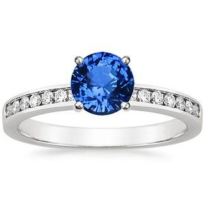 18K White Gold Sapphire Petite Channel Set Round Diamond Ring $2,800 (conflict free diamond, recycled gold)