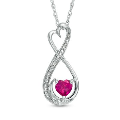 Zales 5.0mm Lab-Created Pink Sapphire and Opal Looping Heart Pendant in Sterling Silver 5bxQlapk