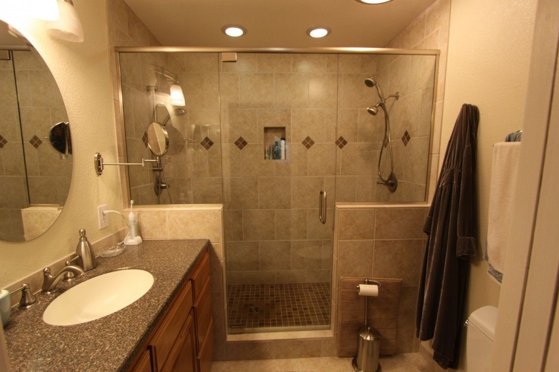 photos of remodeled bathrooms%0A Remodel Bathroom Diy Ideas Amazing Remodel Of Small Master Bathroom Remodel  Shower Space With Glass Door Round Frameless Wall Mirror White Oval Sink  Vessel