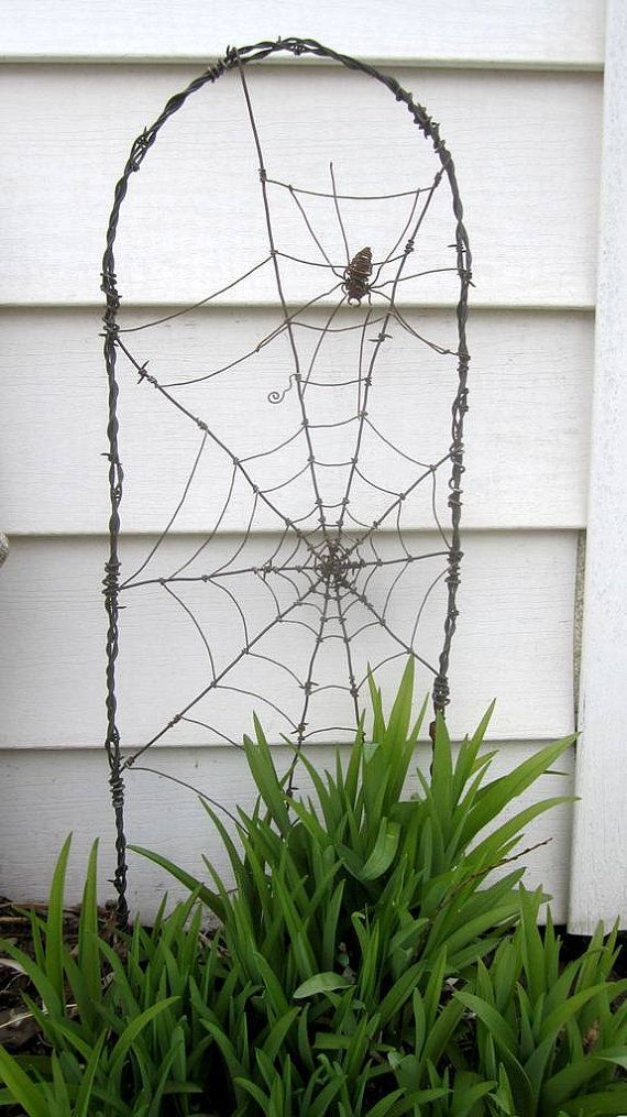 Photo of Spider In A Tattered Web Barbed Wire Garden Trellis Made to Order