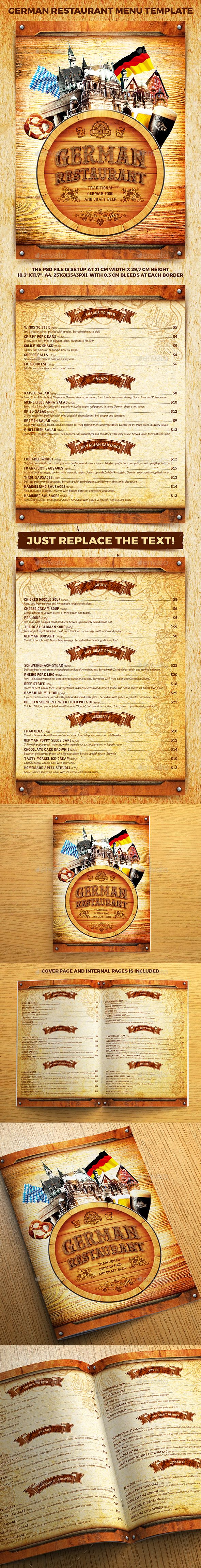 German Restaurant Menu Template PSD German Restaurant