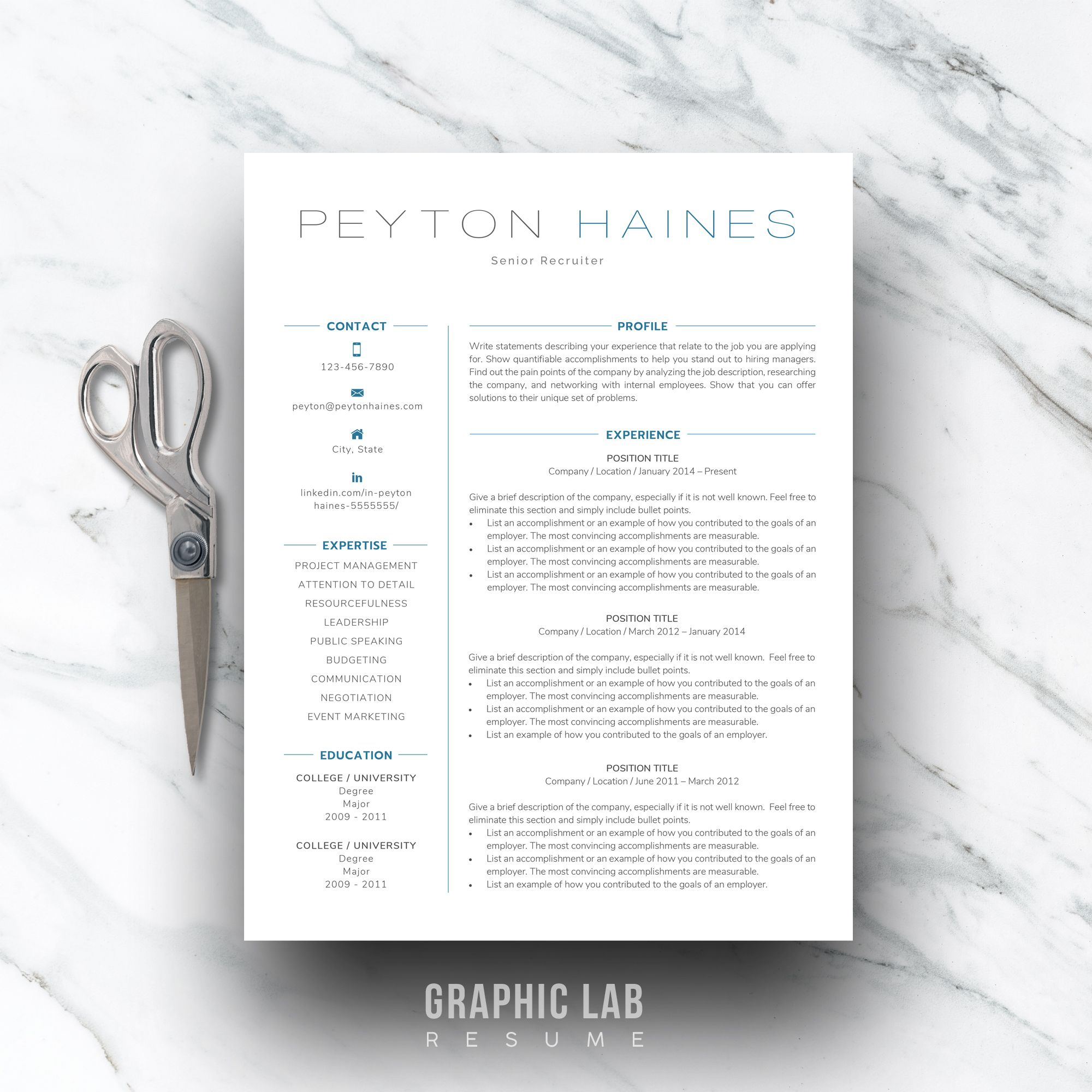 References Sheet Template Unique Resume Template One Page  Two Page Resume  Resume Template Instant .