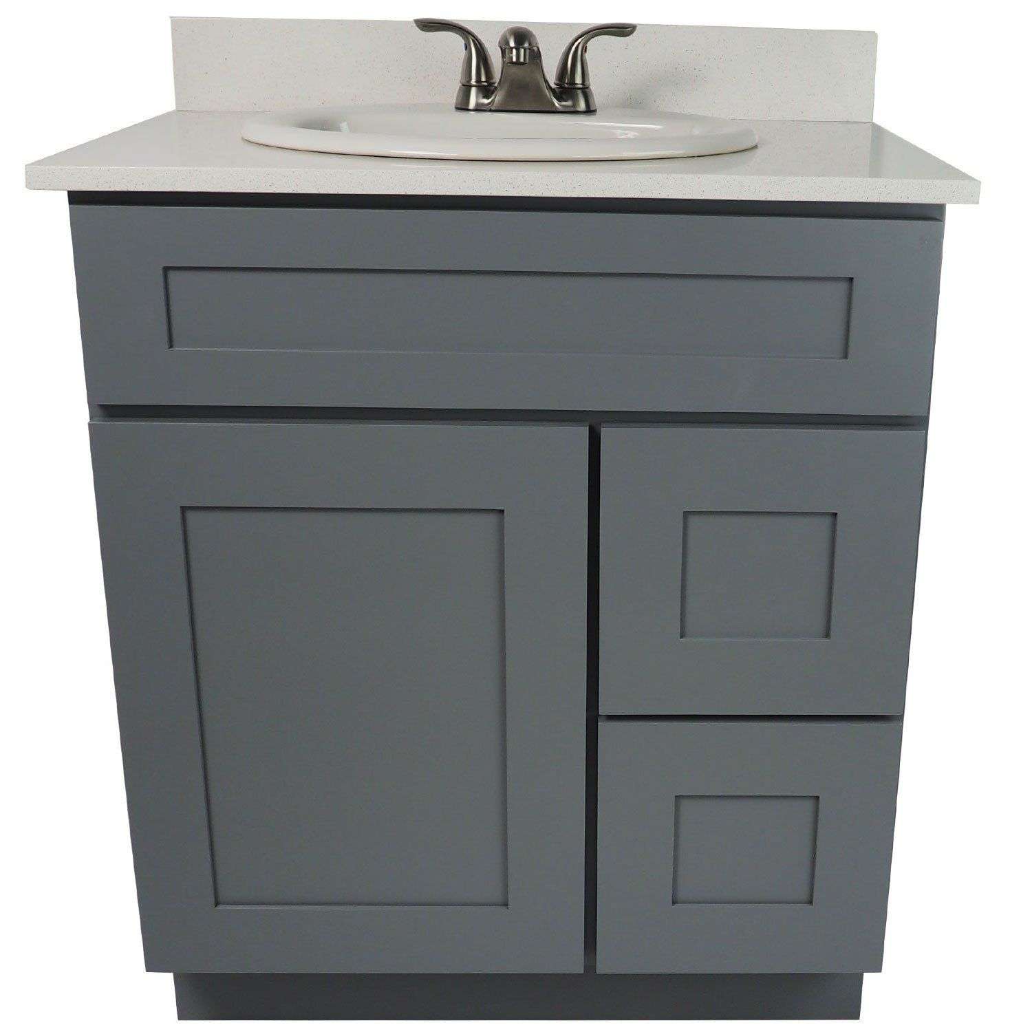 Image Of  Inch Bathroom Vanity Single Sink Cabinet in Shaker Gray with Soft Close Drawers u Door