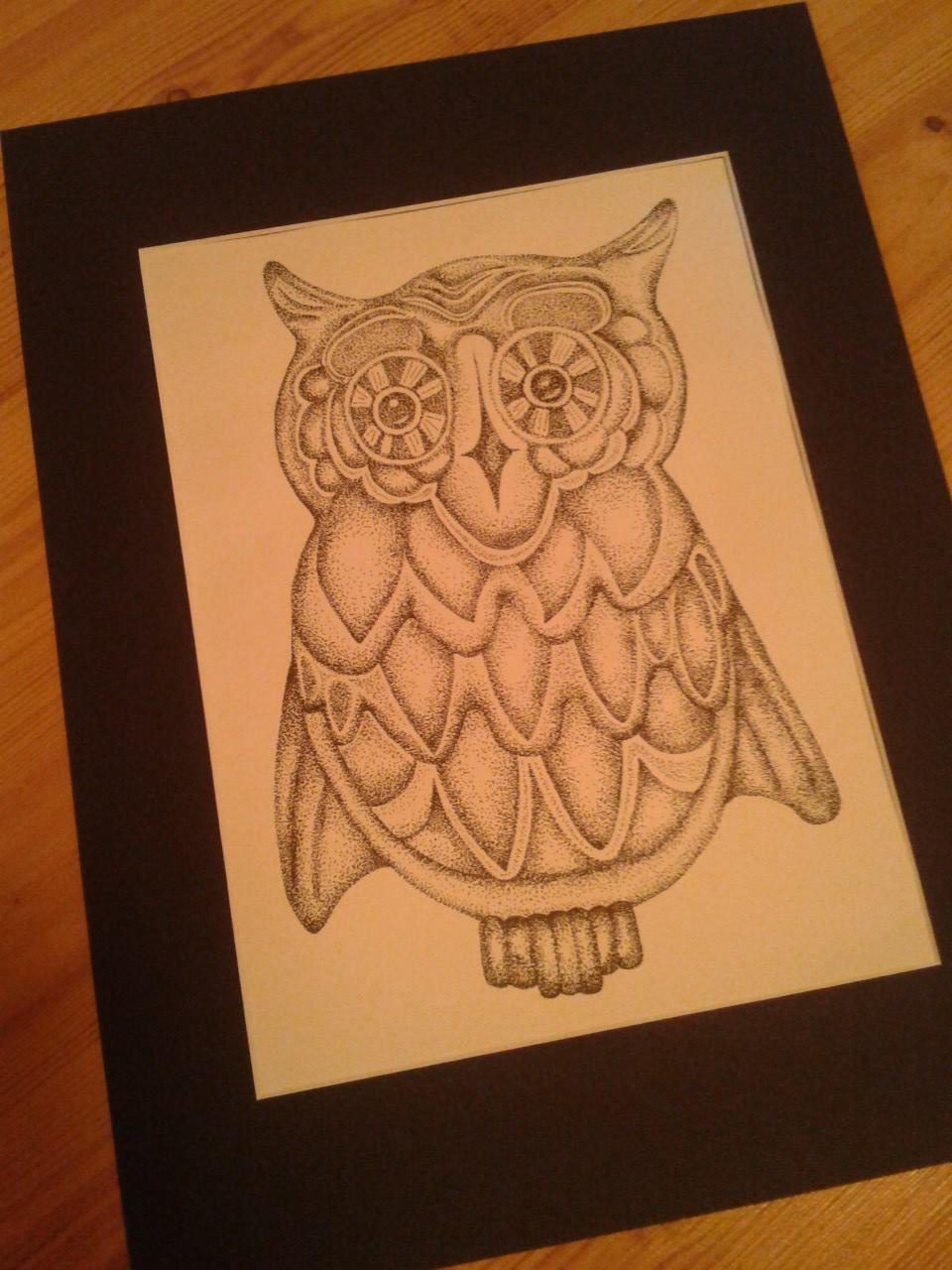 Owl - pen & ink stipple... yes, made of all dots!