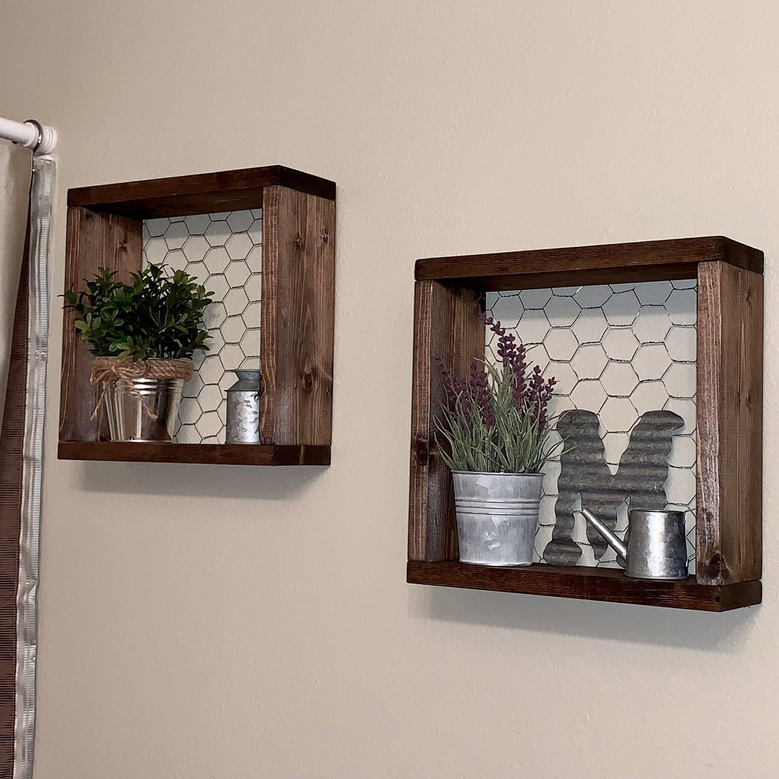 Farmhouse Style Shelves, Set of two Chicken Wire Shelves, Gallery Wall Decor, Bathroom Wall Decor